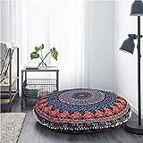 Aakriti Gallery - Coussin de sol rond de méditation - Motif mandala, bohème, indien - Décoratif - Housse uniquement - 89cm