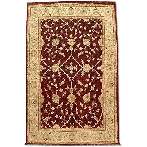 Agra rettangolare realizzato a mano, in lana, rosso scuro, 267