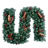 2.7m DIY Weihnachtsgirlande Künstliche Girlande Bowknot Dekorativer Rattan Tannengirlande Weihnachtskranz Weihnachtsdeko Girlande für Hochzeit, Shopping Center, Thanksgiving, Parties