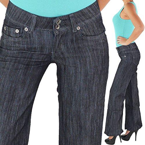 Damen Boyfriend Chino Aladin Hüftjeans Bootcut Schlag Strech Hüft Jeans Hose Blau 005