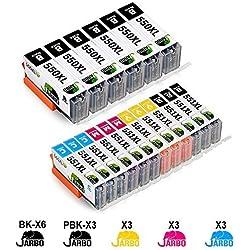 JARBO PGI 550 CLI 551 Compatible Canon PGI-550 CLI-551 XL Cartouche d'encre Grande capacité Compatible avec PIXMA MG5450 MG5550 MG5650 MG6350 MG6450 MG6650 IX6850 MG7150 MX725 IP7250 MX925