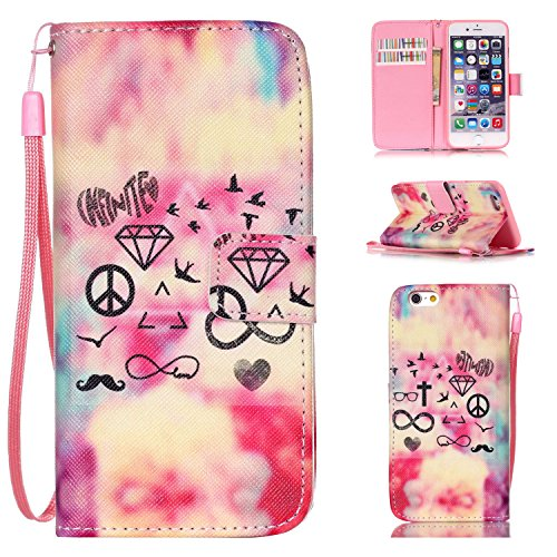 iPhone 6S Case,iPhone 6s Hülle, Ekakashop Apple iPhone 6 6S 4.7 Zoll Schlank Vollkörper Bunte Never Stop Dreaming Muster flip Buchstil Schale Tasche Magnet mit Standfunktion Kartenfächer PU Leder Wall Luxus Vogel Krone Herz