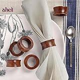 aheli Serviettenringe aus Holz, handgefertigt, 6 Stück für Tischdekoration