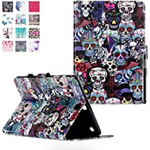 Samsung Galaxy Tab A 9.7 SM-T550 Funda, DEENOR Colorful Painting and Stylish Drawing Wallet Case Book Style PU Cuero Flip Protective Stand Funda Carcasas para Samsung Galaxy Tab A 9.7 SM-T550. (Color skull)