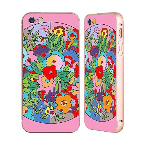 Ufficiale Howie Green Astratto Cerchio Oro Cover Contorno con Bumper in Alluminio per Apple iPhone 5 / 5s / SE Fiori