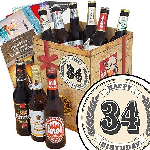 34 Zahl Klassik | Bier Geschenkset| DDR Bier Box | 34 Zahl Klassik | Bier Geschenk | 34ten Geburtstag Geschenke | INKL Bierbewertungsbogen, 6 Geschenk Karten + Umschläge, 3