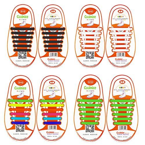 Coolnice 4 coppie lacci elastici no tie lacci per scarpe bambini pizzo elastico impermeabile pratica in silicio per scarpe sportive athletic da corsa sneaker boots bordo e scarpe casual