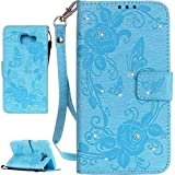 PQ-MALL Coque Samsung Galaxy A3 (2016),Bling Bling Azur Etui Housse (Gaufrage) Pour Samsung Galaxy A3 (2016) SM-A310F Récompense: Récompense:stylet inclus X1