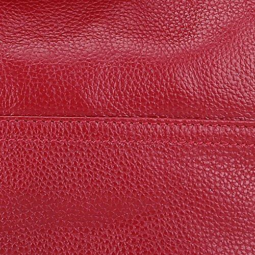 Artone Damen Echtes Leder Quaste Crossbody-Tasche Tragetasche 2 Weg Schwarz Rot