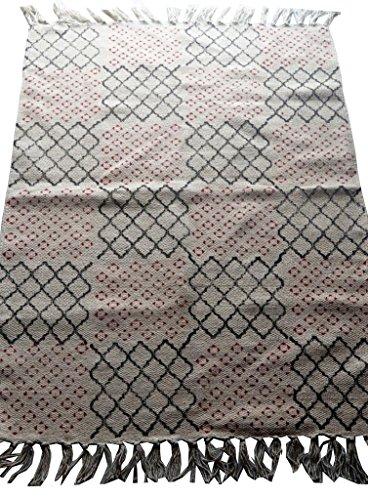 silkroude Coton Indien Patchwork Imprimé Coton Kilim Tapis Kilim de Main Dhurrie