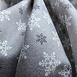 Schneeflocke Weihnachten Baumwolle Stoff gedruckt grau