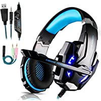 Micro Casque Gaming PS4, Casque Gaming Switch avec Micro Anti Bruit Casque Gamer Xbox One Filaire LED Lampe Stéréo Bass…