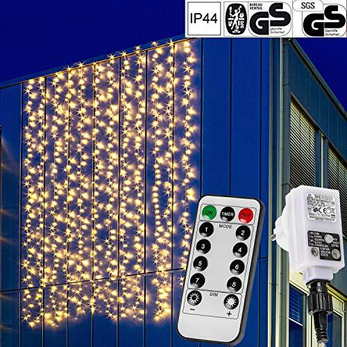 VOLTRONIC® LED Lichtervorhang Lichterkette für innen und außen, 3x3m 300LED / 3x6m 600LED / 6x3m 600LED, warmweiß/kaltweiß/bunt/warmweiß+kaltweiß, GS geprüft, IP44, 8 Modi/Fernbedienung/Timer