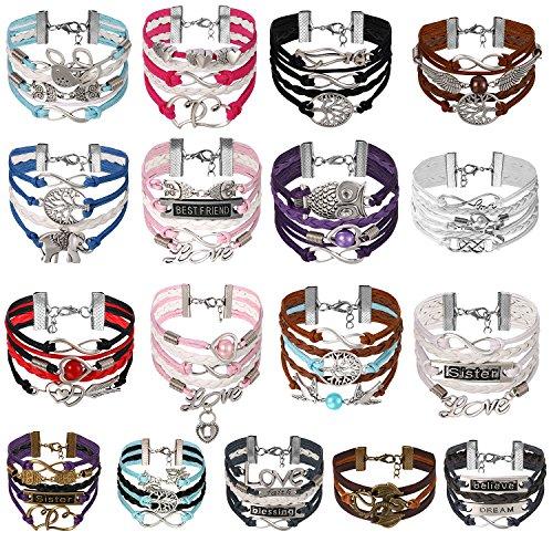 JewelryWe Pulsera Infinito Infinity Brazalete de Hilos y Cuero Trenzad