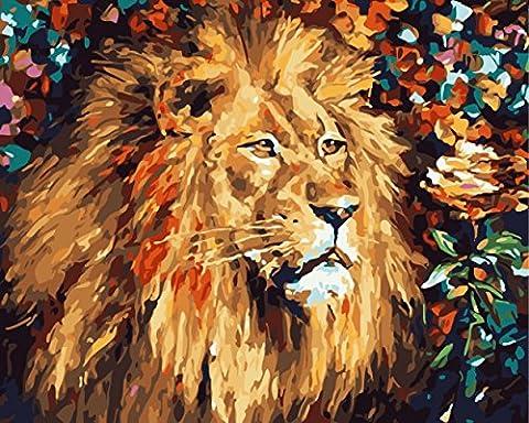 Obella Peinture par numéros Kits issu de la gamme Figure Lion 50x 40cm issu de la gamme Peinture par numéros numériques, peinture à l'huile, sans cadre