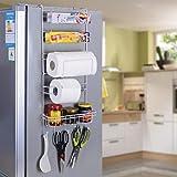 INDIAN DECOR Multi-Layer Refrigerator Broadside Shelf Rack Sidewall Multipurpose Shelf Plastic Wrap Tissue Storage Rack Kitch