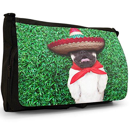 Asiatica carlino Dogs in porcellana Love, colore: nero, Borsa Messenger-Borsa a tracolla in tela, borsa per Laptop, scuola Nero (Fiesta Mexican Sombrero Pug)