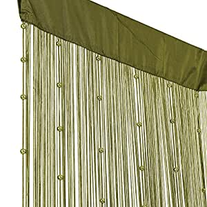 fadenvorhang fadengardine t rvorhang mit perlen 90x250cm helena olive gr n. Black Bedroom Furniture Sets. Home Design Ideas