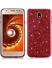 Misstars Luxus Glitzer Hülle für Galaxy J7 2017 Rot, Bling Sterne Pailletten Hart PC + Weiche TPU Rahmen Handyhülle Anti-Rutsch Kratzfest Schutzhülle für Samsung Galaxy J7 2017 SM-J730F
