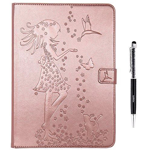 iPad Air 2 iPad 6 Funda, SsHhUu Cuero de la PU Delgado Funda Carcasa Smart Cover Case con Stand Función y Auto-Sueño/Estela + Un lápiz óptico para Apple iPad Air 2 iPad 6 (2014 Release) - Oro rosa