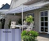 LECO Vlexy Standard Terrassenüberdachung 3 x 4m Standmarkise Sonnenschutz Sonnensegel blau/gelb gestreift