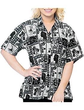 cuello de la camisa blusas novio impresos hawaiano de las mujeres del beachwear de mangas cortas ocasionales