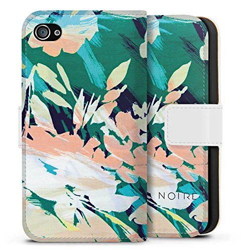 Apple iPhone X Silikon Hülle Case Schutzhülle Blume Muster Blumen Sideflip Tasche weiß