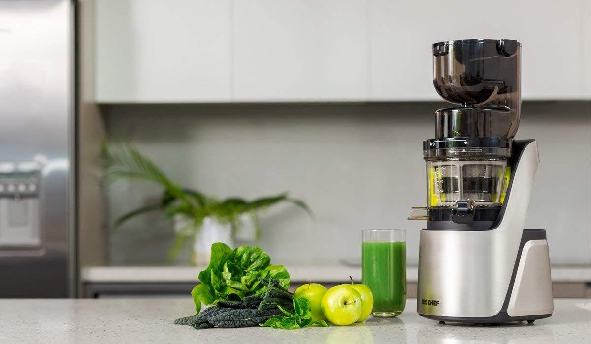 Estrattore BioChef Quantum Juicer in 3 colori. Imboccatura larga per una spremitura facile - frutta e vegetali anche interi | Spremiagrumi con motore industriale - 2020 -
