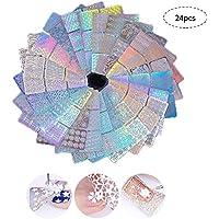 Pegatinas de Plantillas de Uñas para Diseño de Arte de Uñas, 24 hojas 144 varios Manicura Decoración de Accesorios