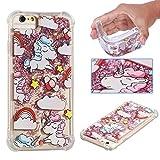 E-Mandala iPhone 5 5S SE Hülle Glitzer Flüssig Liquid Glitter Case Cover Handyhülle Schutzhülle Transparent mit Muster Durchsichtig Tasche Silikon - Einhorn Unicorn Rosa Pink