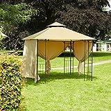 greemotion Pavillon Genf beige, Partyzelt inkl. vier Seitenwände, Gartenpavillon mit wasserabweisendem Dachbezug aus Polyester (180g/m²) mit PA Beschichtung, Maße ca. 300 x 300 x 280 cm