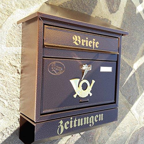Großer Briefkasten / Postkasten XXL Kupfer / Bronce mit Zeitungsrolle Zeitungsfach Schrägdach Trapezdach - 2