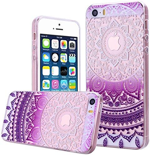 We Love Case TPU Coque pour iPhone 5 5S SE Silicone Étui Souple Housse de Protection Swag Coque Cristal Clair Strass Case Cas de Couverture Absorbant Chocs Anti Rayures - Gradient Violet Mandala