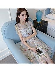 Vestido bordado de encaje floral fresco verano pequeño vestido falda delgada,L