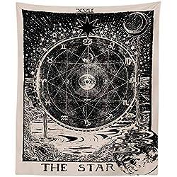 ZZM Tarot tapiz para colgar en la pared, el tapiz medieval de la luna de la estrella del sol, tapiz de arte en la pared para decoración del hogar