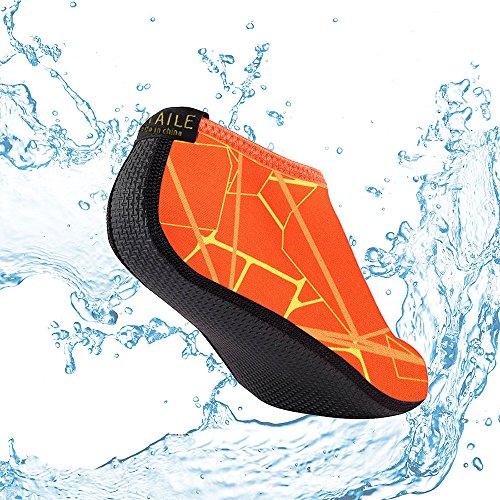 SITAILE Sommer Aqua Schuhe Barfuß Weich Wassersport Yoga Schuhe Strandschuhe Schwimmschuhe Surfschuhe für Damen Herren Orange