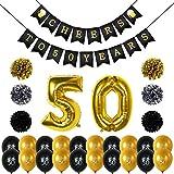 Konsait 50. geburtstag deko, Cheers zum 50. Geburtstag Girlande, Große 50 Jahre Folienballons, Papierblumen, Pom Poms, 20Stk schwarz und Gold Latex Luftballons Dekoration für 50 Geburtstagsfeier