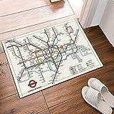 fuhuaxi Mapa de la decoración de la Ciudad Metro de Londres tráfico ferroviario Antideslizante Estera de la Puerta Alfombra de baño 15.7x23.6in