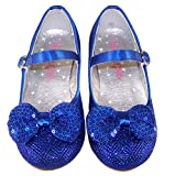 Girls blue sparkly glitter low heeled party special occasion wedding mary jane shoes