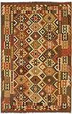 Carpetfine: Kelim Afghan Teppich 192x296 Braun,Multicolor - Geometrisch