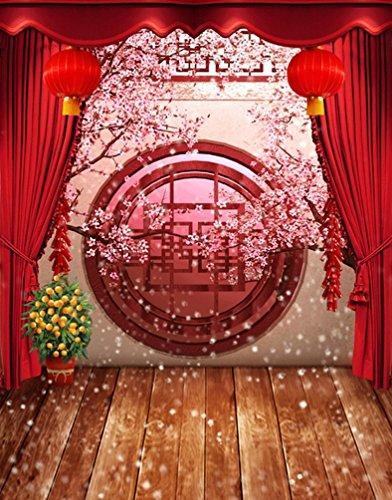 (A.Monamour 5x7ft Gewebe Vinyl Rote Chinesische Lunar Neue Jahr Frühlingsfestival Thema Partei Wand Dekorationen Wandbild Fotografie Hintergründe)