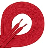 1 par de cordones Di Ficchianoplanos, de poliéster, resistentes,de 7mm aprox. de ancho, en 27colores, 60-200cm de longitud, color Rojo, talla 190 cm
