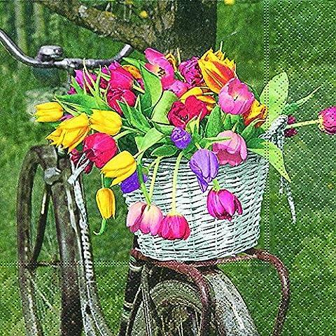 20Servilletas cesta de flores en bicicleta/Flores/Jardín 33x 33cm