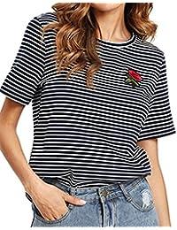 Longra Donna Sottile Maniche Corte Maglietta Stampa a Strisce Motivo  Floreale Rosa T-Shirt Donna cfe5fc5a893f