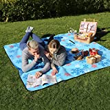 SONGMICS Outdoor Beach Picnic Blanket Rug Mat with Waterproof Backing 200 x 200 cm GCM70RU
