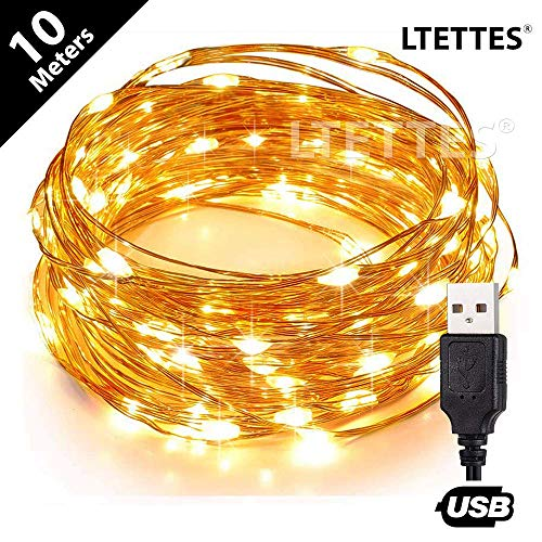 LTETTES USB Powered Copper 3 Wires Ultra Durable LED String Lights Waterproof...