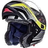 Casco con tapa frontal para motocicleta MT Atom SV Tarmac, Gloss & Matt Black Fluo Yellow, Medium