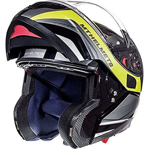 MT Atom SV goudron Flip casque de moto avant, Gloss & Matt Black Fluo Yellow