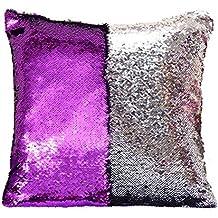 Homelava Fundas de Cojín DIY Cojín Lentejuelas 40x40cm,Púrpura + Plata