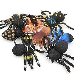 Idea Regalo - 5 Pollici Realistici Neri Giocattoli Ragno Gomma Set(8 Pacchetti), Materiale TPR Super Elastico, Mondo Zoo Decorazione Halloween Raccapricciante Bomboniere Gag Novità Scherzi Vedova Nera